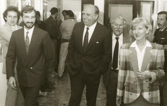 *Dr. Jorge Grünberg, rector de la Universidad ORT Uruguay; Dr. Julio María Sanguinetti, presidente de Uruguay de la época; y Prof. Charlotte de Grünberg, directora general de la Universidad ORT Uruguay*