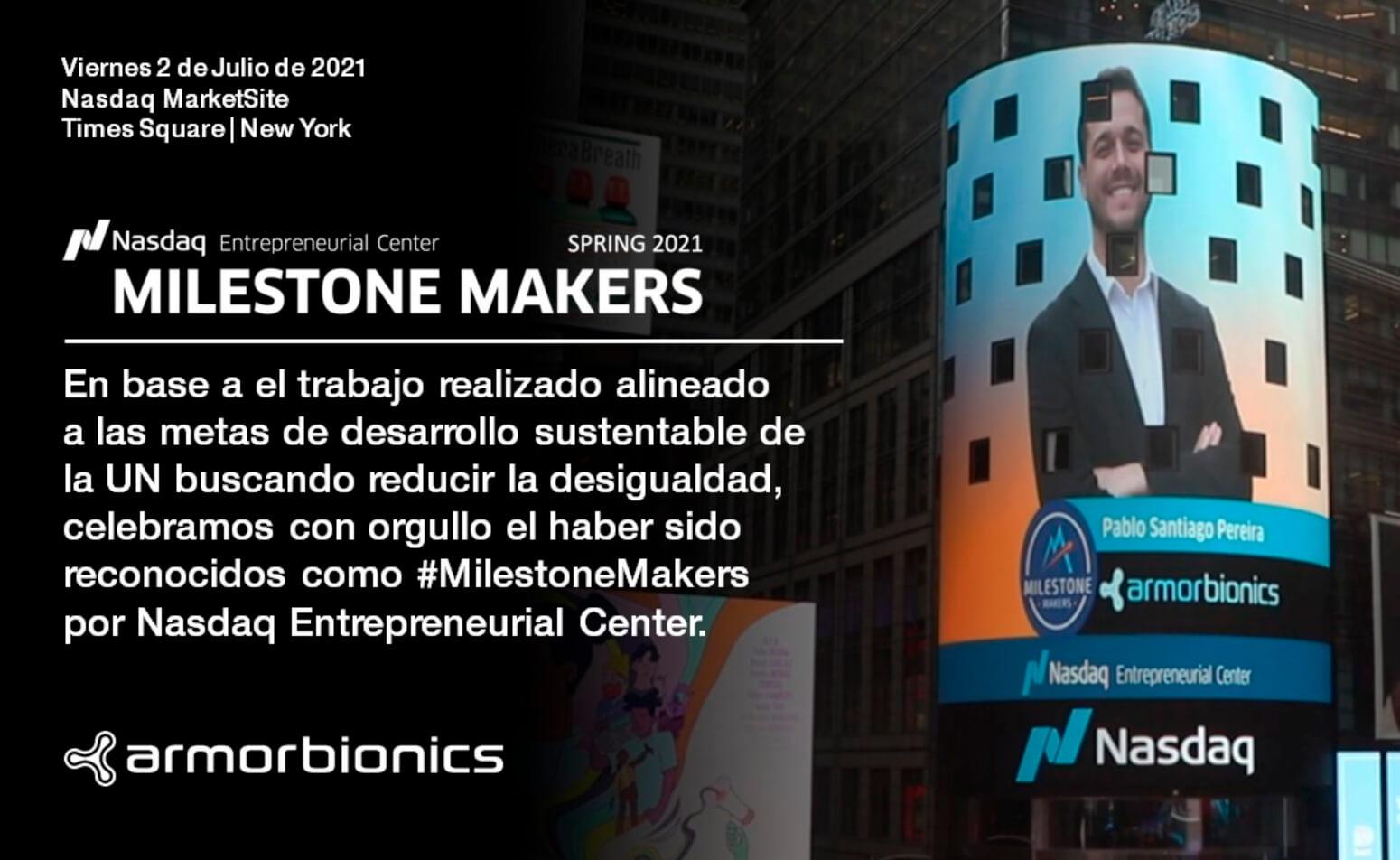 Pablo Pereira, cofundador de Armor Bionics, se graduó el centro de emprendedores de Nasdaq